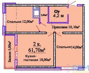 2-комн., 62 кв. м., Толбухина, Таирова, Одесса, Киевский район